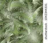 tropical palm leaves  jungle... | Shutterstock .eps vector #1042344331