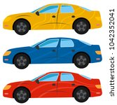 a set of three cars painted in... | Shutterstock . vector #1042352041