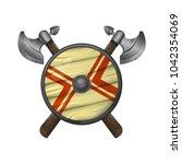 viking shield   illustration...   Shutterstock . vector #1042354069