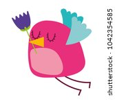 cartoon cute bird with tulip...   Shutterstock .eps vector #1042354585