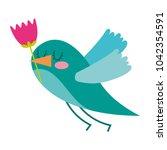 cartoon cute bird with tulip...   Shutterstock .eps vector #1042354591