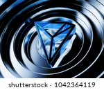blue tron crypto currency... | Shutterstock . vector #1042364119