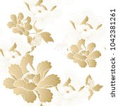 gold floral pattern vector.... | Shutterstock .eps vector #1042381261