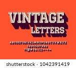 vector 3d textured vintage... | Shutterstock .eps vector #1042391419