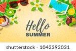 hello summer vacation web... | Shutterstock .eps vector #1042392031