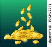 coins dollar gold color   Shutterstock .eps vector #1042413241