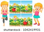 girl doing exercises in park... | Shutterstock .eps vector #1042419931