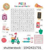 crossword game about pizza for... | Shutterstock .eps vector #1042421731