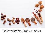 spoon of various legumes and... | Shutterstock . vector #1042425991