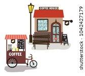 coffe house street food  kiosk... | Shutterstock .eps vector #1042427179