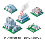isometric factory building icon ... | Shutterstock .eps vector #1042430929