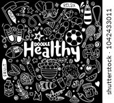 healthy lifestyle concept hand... | Shutterstock .eps vector #1042433011