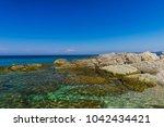 sea coastline view in zakynthos ...   Shutterstock . vector #1042434421