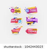 supermarket sale stickers in... | Shutterstock . vector #1042443025