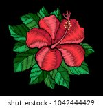 embroidery hibiscus flower....   Shutterstock .eps vector #1042444429