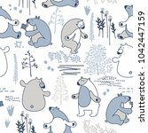 seamless vector pattern with... | Shutterstock .eps vector #1042447159