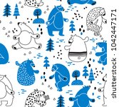 seamless vector pattern with... | Shutterstock .eps vector #1042447171