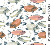 seamless vector pattern with... | Shutterstock .eps vector #1042447369