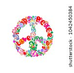 stylish hippie peace flower... | Shutterstock .eps vector #1042450384