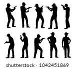 set of man with gun silhouette...   Shutterstock .eps vector #1042451869