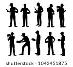 set of delivery man silhouette...   Shutterstock .eps vector #1042451875