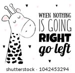 vector cartoon sketch giraffe... | Shutterstock .eps vector #1042453294