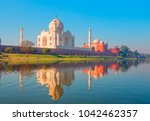 taj mahal at sunset   agra  ... | Shutterstock . vector #1042462357