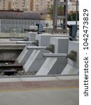 Small photo of Four Concrete buffers with hydraulic pistons at Almeria railway station, Andalusia