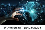 businesswoman on blurred... | Shutterstock . vector #1042500295
