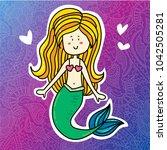 cute magic summer magic mermaid ... | Shutterstock .eps vector #1042505281