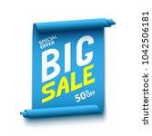 sale banner. blue ribbon. paper ... | Shutterstock .eps vector #1042506181