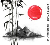 bamboo in japanese painting... | Shutterstock . vector #1042511095