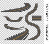 winding curved road direction... | Shutterstock .eps vector #1042514761