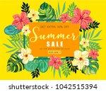 rectangular summer tropical... | Shutterstock .eps vector #1042515394