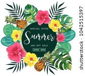 summer tropical background with ... | Shutterstock .eps vector #1042515397