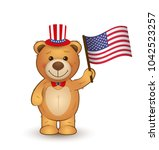 vector cartoon teddy bear with... | Shutterstock .eps vector #1042523257