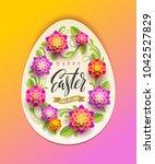 easter greeting card   egg... | Shutterstock .eps vector #1042527829