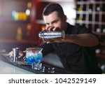 bartender pouring fresh...   Shutterstock . vector #1042529149