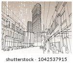 scene street illustration. hand ... | Shutterstock .eps vector #1042537915