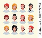 business woman avatars. call... | Shutterstock .eps vector #1042577704