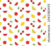 colorful fruits seamless... | Shutterstock .eps vector #1042583455