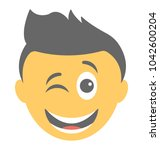 smiley showing winking face    Shutterstock .eps vector #1042600204