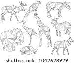 set of origami animal...   Shutterstock . vector #1042628929