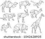 set of origami wild animal...   Shutterstock . vector #1042628935