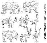set of origami animal...   Shutterstock . vector #1042628941