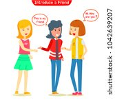 group of teen girl talking... | Shutterstock .eps vector #1042639207