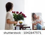 mother  playing with her... | Shutterstock . vector #1042647571