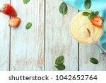 dessert bowl with vanilla...   Shutterstock . vector #1042652764