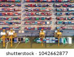 aerial view ship yard container ... | Shutterstock . vector #1042662877