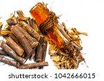 ayurvedic herb liquorice root... | Shutterstock . vector #1042666015